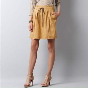 LOFT Gold Paper Bag Waist Nautical A-line Skirt 0